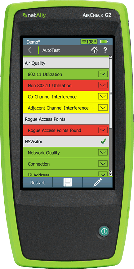 AirCheck G2 WiFi Tester-Analyzer with RF-interference, iPerf and pcap diagnostics.