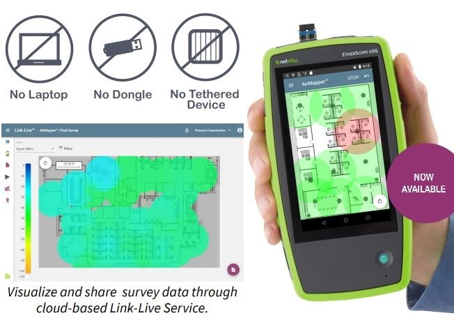 AirMapper WiFi Site Survey on EtherScope Nxg and AirCheck G2